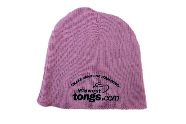 pink beanie hat with Midwest Tong's logo