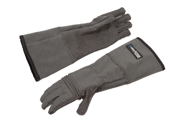 HexArmor animal handling gloves side by side in gray color