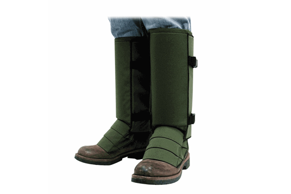 snake bite leg guards in olive green color