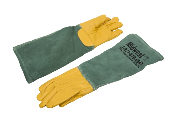 green and yellow double lined animal handling leather gloves