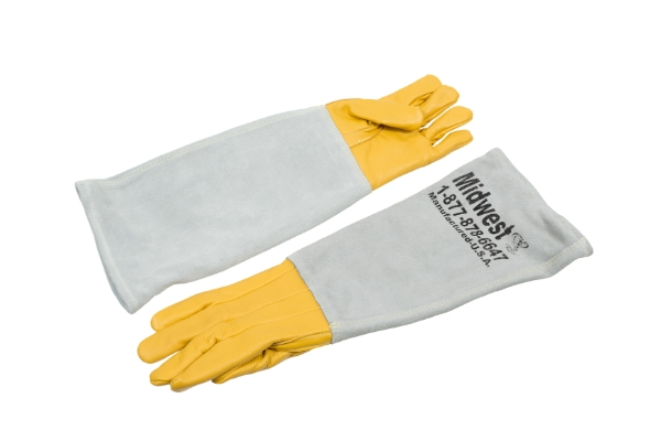 yellow and white double lined animal handling leather gloves