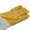 animal handling Leather Gloves in yellow with Steel Staples